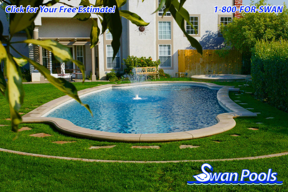 Swan pools 39 swimming pool gallery fountain in the meadow for Pool design company polen