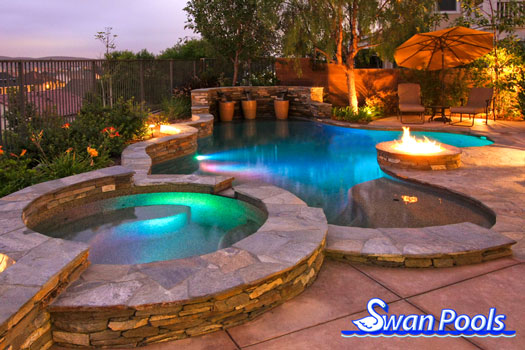 Swan pools custom designs swimming pool design gallery a perfect circle of entertainment for Swimming pool entertaining areas
