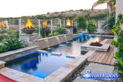 Geometric Swimming Pool And Spa Installed With Fire Bowls And A Fire Pit  Entertainment Area In